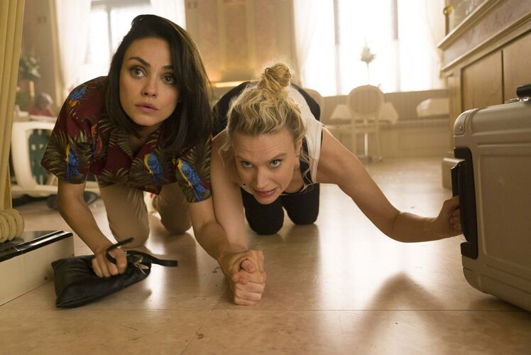 Mila Kunis (left) as Aubrey and Kate McKinnon as Morgan in The Spy Who Dumped Me.</p>