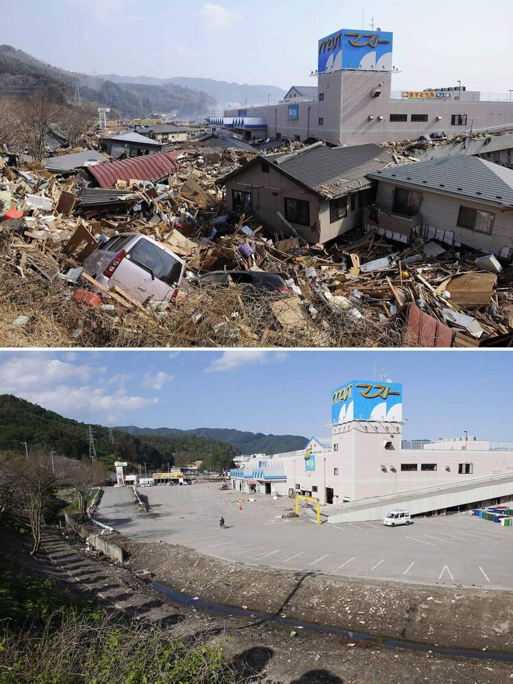 In this combo of two photos, destroyed houses and debris fill a parking lot of a shopping center in Otsuchi, Iwate prefecture, northeastern Japan, on March 13, 2011, two days after the devastating earthquake and tsunami hit the area, top, and the same area, bottom, with the houses and debris cleared as photographed on June 3, 2011. Japan marks three months since the March 11 earthquake and tsunami that struck the nation's eastern coast on Saturday, June 11, 2011. (AP Photo/Kyodo News)