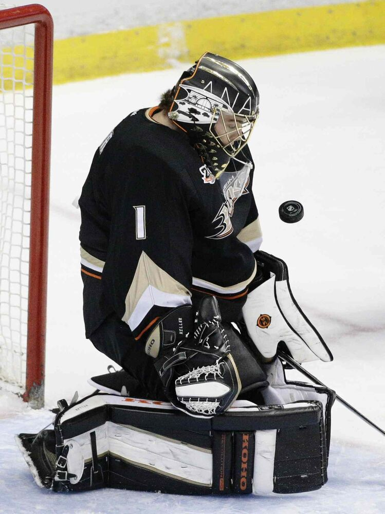 Anaheim Ducks' goalie Jonas Hiller makes a save during the first period of Tuesday's game against the Winnipeg Jets in Anaheim. (Jae C. Hong / The Associated Press)