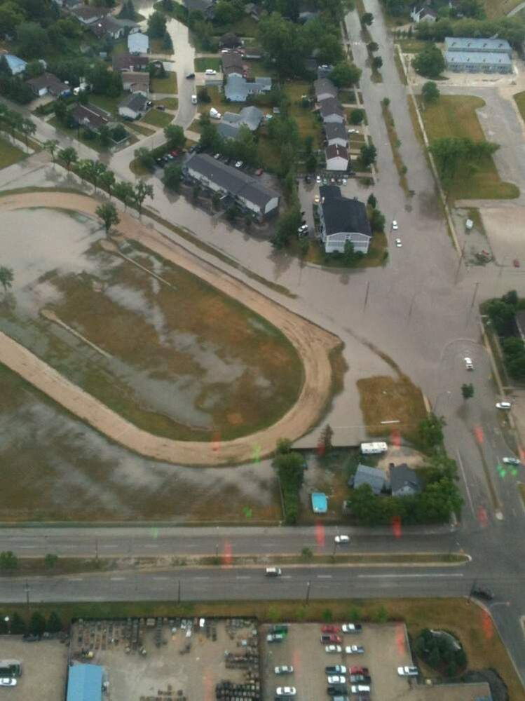 An aerial view of Steinbach flooding.