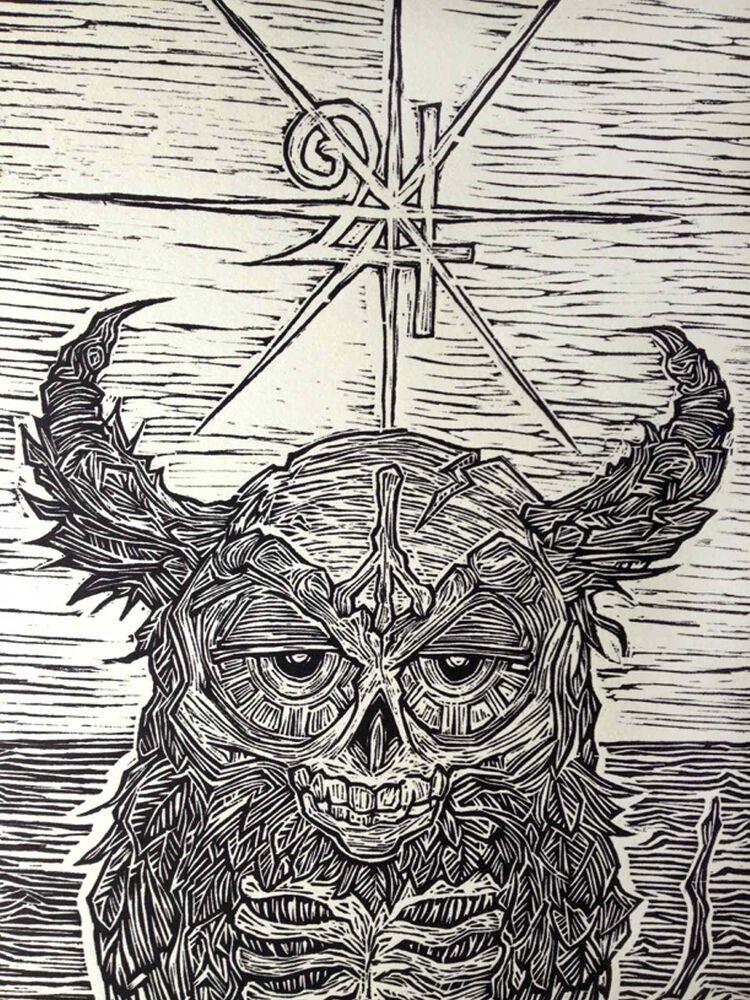 A close-up of the mythic creature woodcut. (Submitted photo)