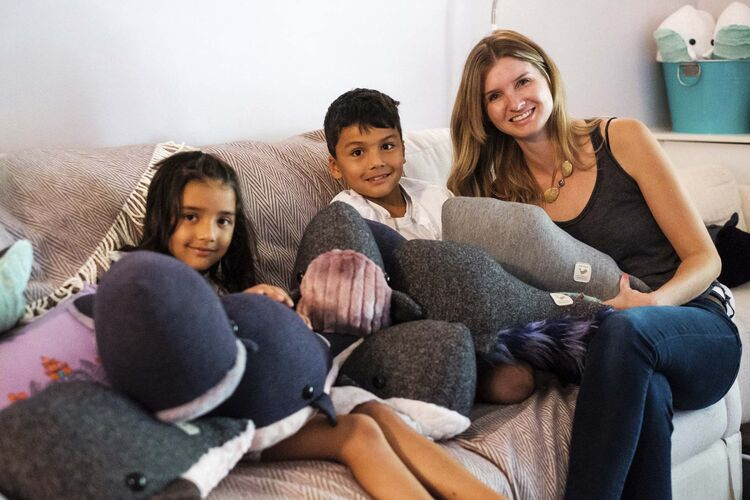 Daniel Crump / Winnipeg Free Press</p><p>Wendi Kuarsingh (right) and her kids Esther (left) and Noah with a pile of Wendi Whales.</p>
