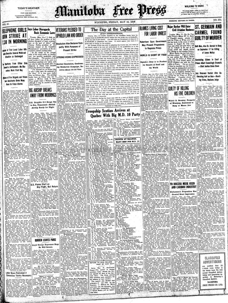 May 16, 1919: Winnipeg General Strike
