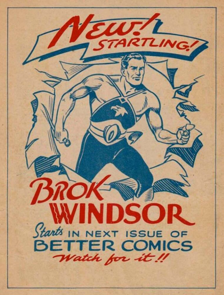 Promotional ad for Brok Windsor in Better Comics