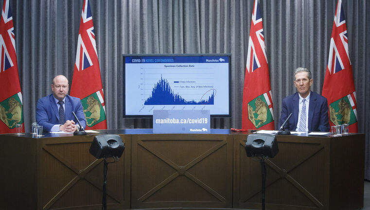 MIKE DEAL / WINNIPEG FREE PRESS  Premier Brian Pallister and Dr. Brent Roussin, chief provincial public health officer, announce further restrictions during a press conference at the Manitoba Legislative building Monday afternoon.  210426 - Monday, April 26, 2021.