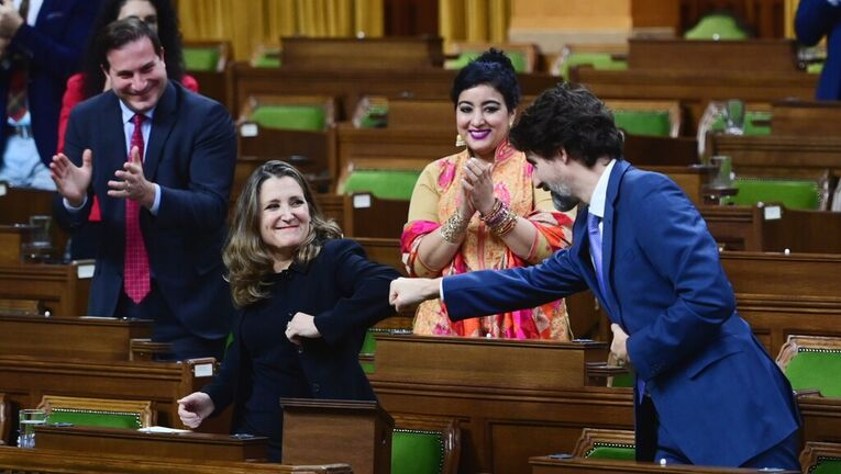 Minister of Finance Chrystia Freeland gets a fist bump from Prime Minister Justin Trudeau after delivering the 2020 fiscal update on Monday. (Sean Kilpatrick / The Canadian Press files)