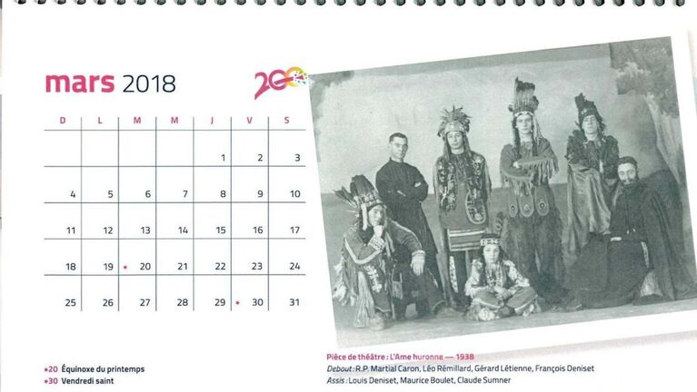 To mark its 200th anniversary, St. Boniface University produced a calendar featuring a photograph from 1938 of a priest and student actors, who were dressed as 'Indians' from a play called L'âme huronne (The Huron Soul).</p>