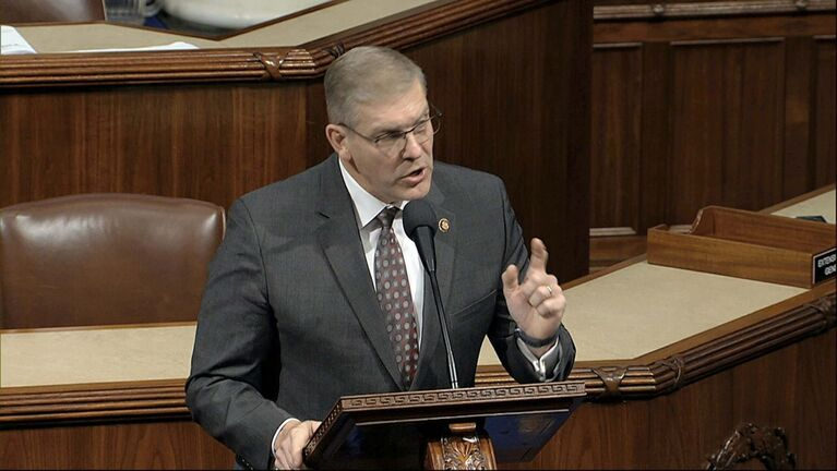 Rep. Barry Loudermilk (R-Ga.) was rebuked for saying Pontius Pilate afforded more rights to Jesus than the Democrats have given to Trump. (House Television)