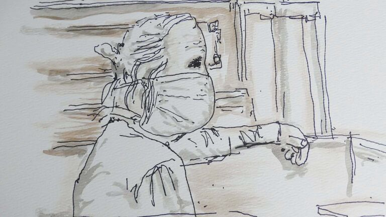 A courtoom sketch of Peter Nygard who looked like an ordinary, dishevelled, grey-haired 79-year-old man when he appeared in court Tuesday. (James Culleton / The Canadian Press)