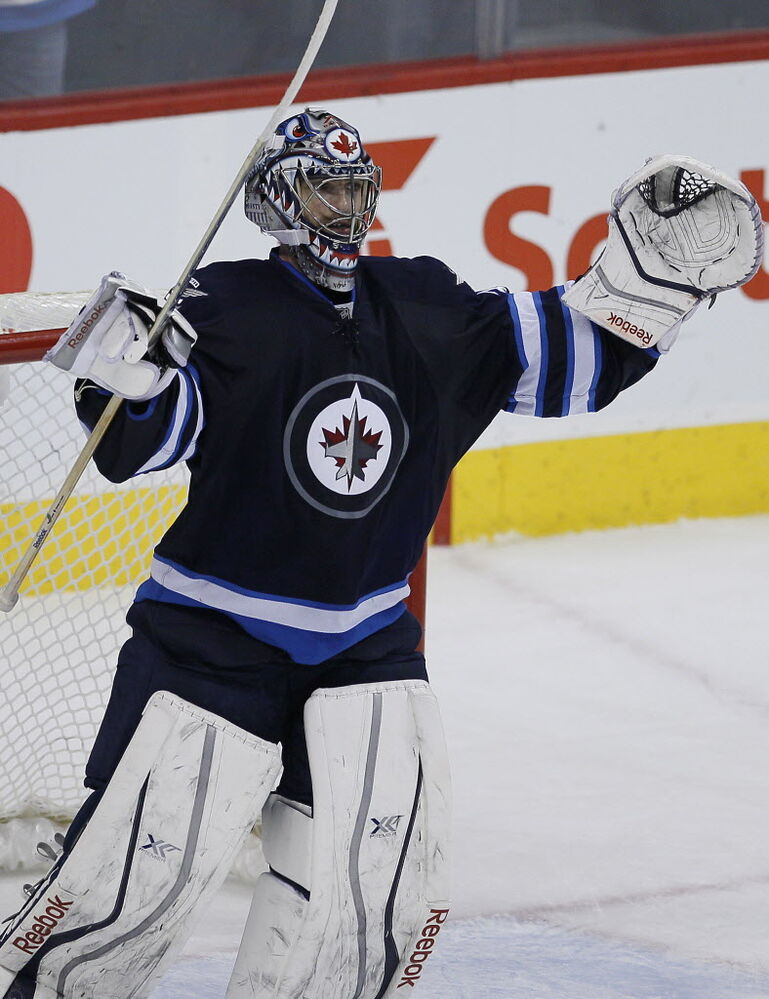 Winnipeg Jets' goaltender Al Montoya (#35) celebrates a 3-0 win over the Buffalo Sabres Tuesday night.