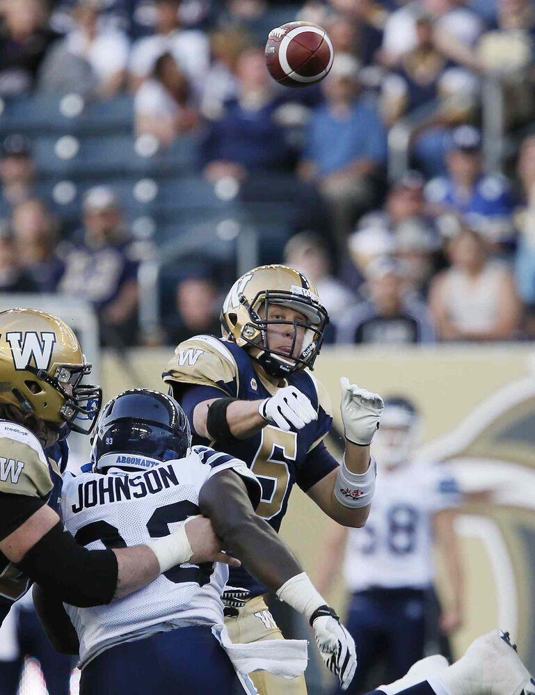 Bombers quarterback Drew Willy throws against the Argo pass rush in the first half. (JOHN WOODS / WINNIPEG FREE PRESS)