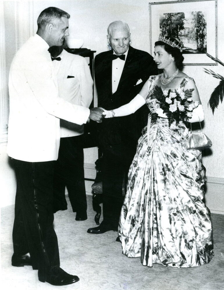 Winnipeg Blue Bomber Bud Grant greets Queen Elizabeth during her Royal Tour in 1959.