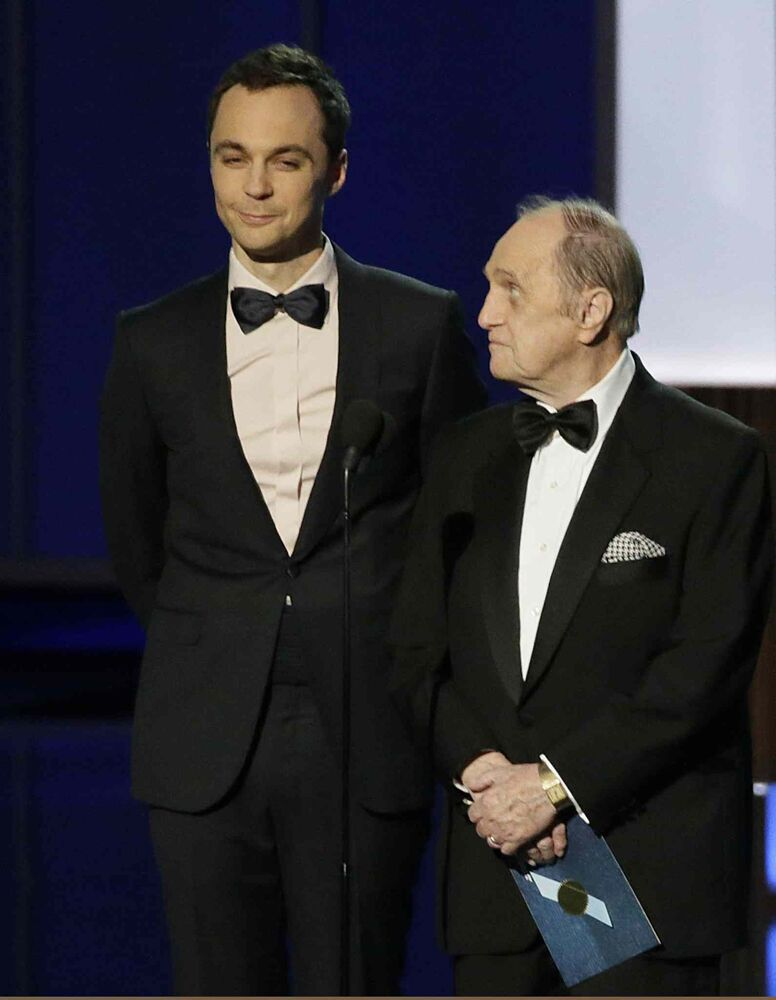 Jim Parsons, left, and Bob Newhart, who got a standing ovation. At 84, TV legend Newhart finallywon his first Emmy, for his guest-starring role in The Big Bang Theory.