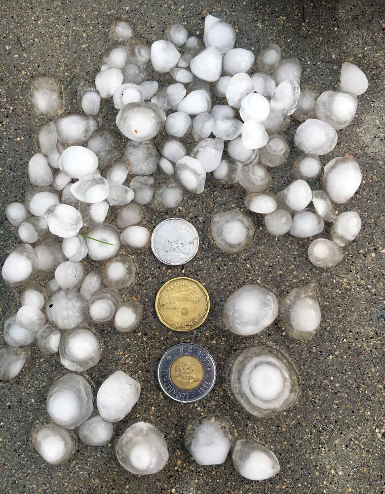 Hail collected at Canway Inn in Dauphin, just before 8 p.m. Friday evening by Derek Baschuk who was in town for the Ukrainian Festival. (Derek Baschuk photo / Winnipeg Free Press)<br>