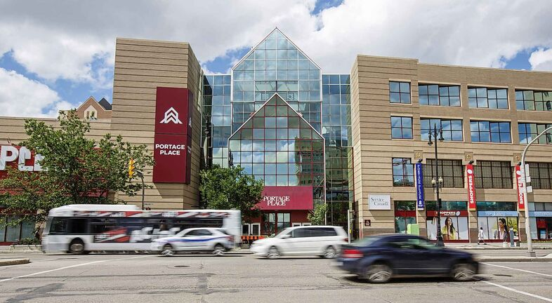 MIKE DEAL / WINNIPEG FREE PRESS  The front doors to Portage Place Shopping Centre.   Starlight Investments is prepared to buy the mall from its current owner, Vancouver-based Peterson Group, and then buy the land the mall is built on and the underground parkade from North Portage Development Corp.  190705 - Friday, July 05, 2019.