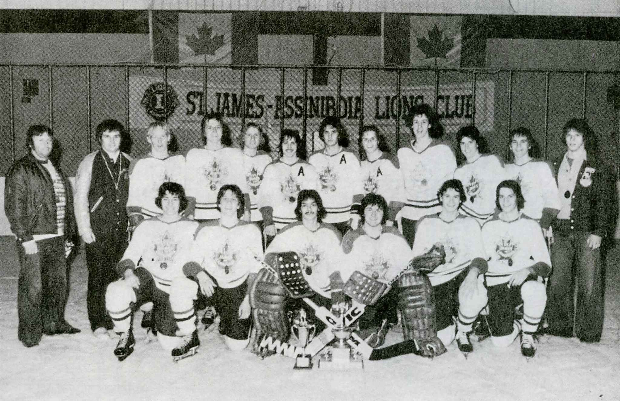 The first real coaching job for James (second from left) was with the St. James Canadians bantam team, which included Eakin (fifth from the right, back row).