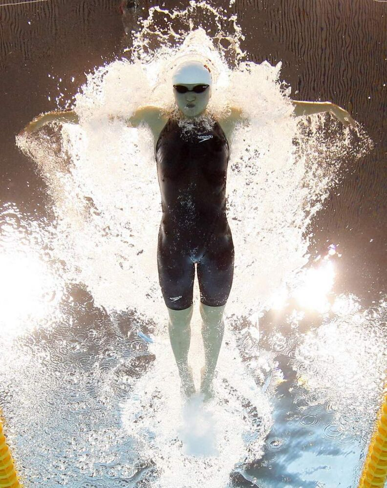 China's Jiao Liuyang competes in a women's 200-metre butterfly heat at the Aquatics Centre in the Olympic Park during the 2012 Summer Olympics in London. (AP Photo/Mark J. Terrill)