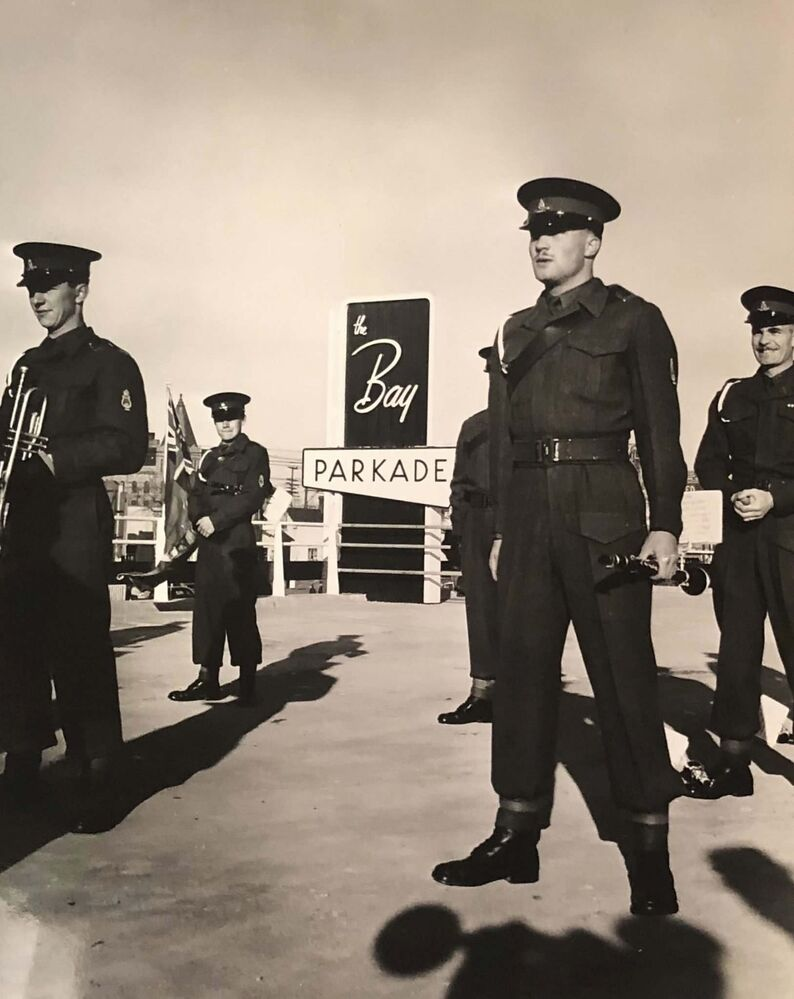 HBC ARCHIVES<br>The RCHA performed at the opening of the parkade on Oct. 29, 1954.<br>