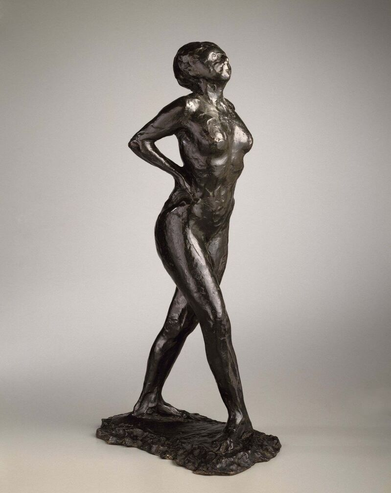 <p><B>Edgar Degas</b></br> <i>Dancer at Rest, Hands Behind Her Back, Right Leg Forward, </i>modeled 1882-1895.</br>  Bronze. 45.4 x 15.2 x 24.1 cm. </br> Brooklyn Museum.  Gift of Mr. and Mrs. Richard Rodgers, 70.176.5.</p>