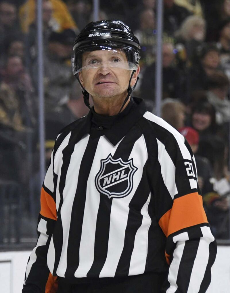 The NHL announced Wednesday that Peel's career as a league referee is over after he was picked up by a TV microphone saying he wanted to give the Predators a penalty. (Photo by Ethan Miller/Getty Images/TNS)