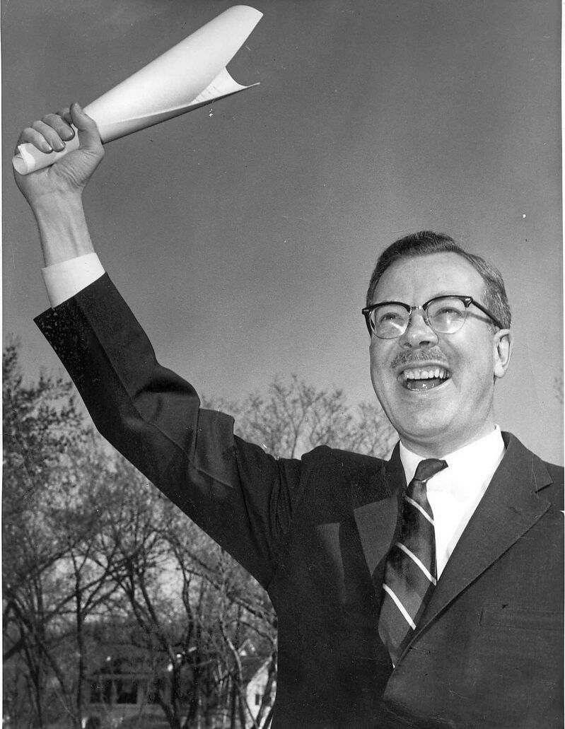 Duff Roblin celebrates an election victory in this undated photo. (Winnipeg Free Press files)