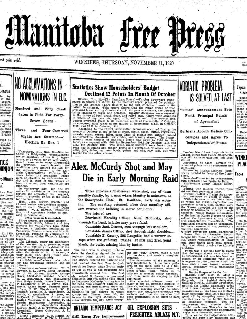 The Manitoba Free Press front page on Nov. 11, 1920.