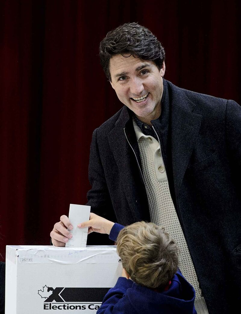 Liberal Leader Justin Trudeau votes with son Hadrien in Montreal, Monday, Oct. 21, 2019. (Sean Kilpatrick / The Canadian Press)