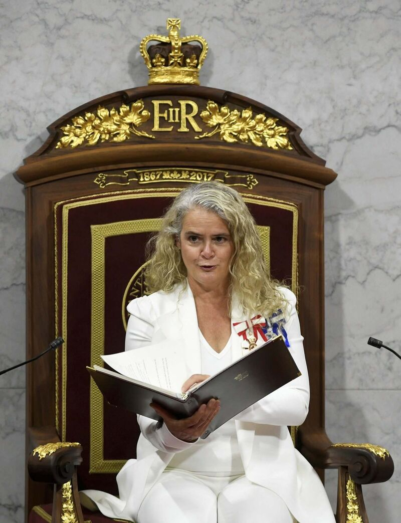 Adrian Wyld / The Canadian Press FILE</p><p>Gov. Gen. Julie Payette delivers the throne speech in September 2020.</p>