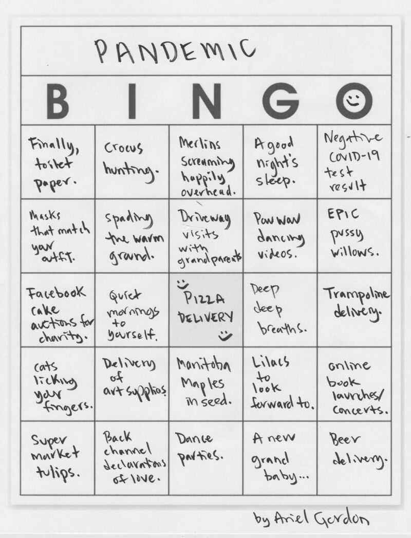Pandemic-themed bingo cards are featured in the papers and will be a part of today's launch.</p>