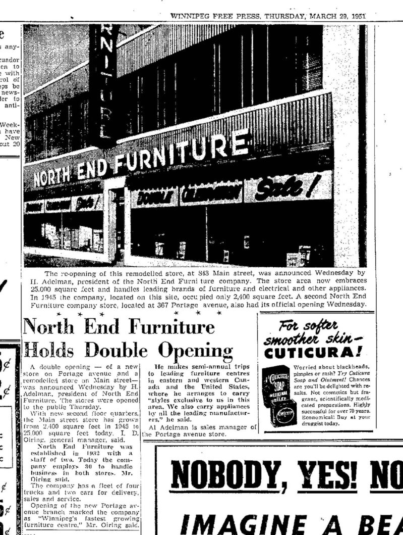 The March 29, 1951 edition of the Winnipeg Free Press ran an article about the building's renovation.
