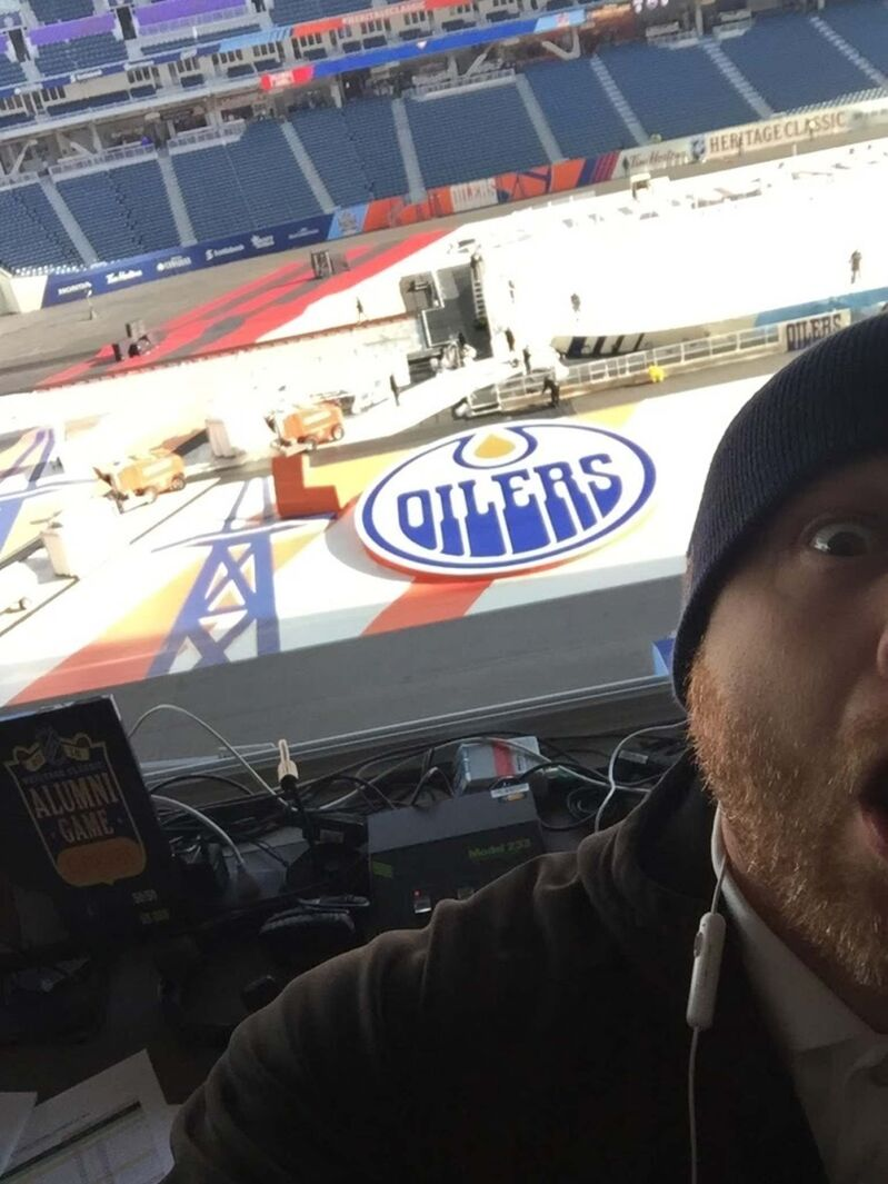 """SUPPLIED</p><p>Richardson at his perch at Investors Group Field during the Heritage Classic in 2016. """"I got to say Teemu Selanne's name. It was a pretty great weekend.""""</p>"""