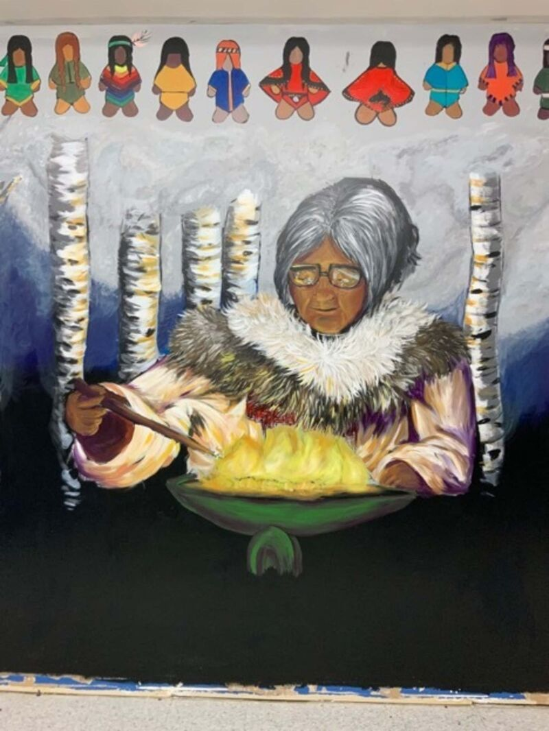 This mural showing Elder Annie Bowkett lighting a quilliq is located at Young Minds at 222 Manitoba Ave. in Selkirk. It's the work of artist Ashley Christiansen, knowledge keeper Jeannie Red Eagle and youth from Promoting Aboriginal Student Success.</p></p>