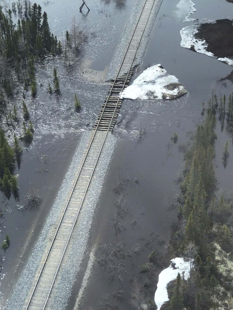 The Hudson Bay Railway suspended trips to Churchill after the tracks were washed out in several places on May 23, 2017.