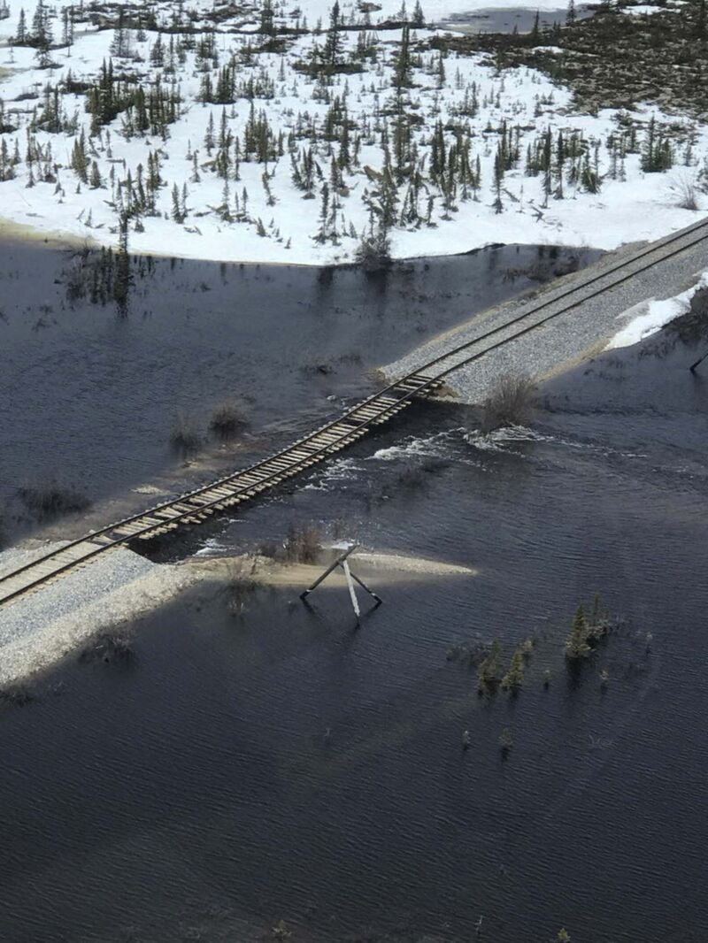 File photo of the Hudson Bay Railway showing flooding that submerged a section of the track forcing the rail link to be closed.