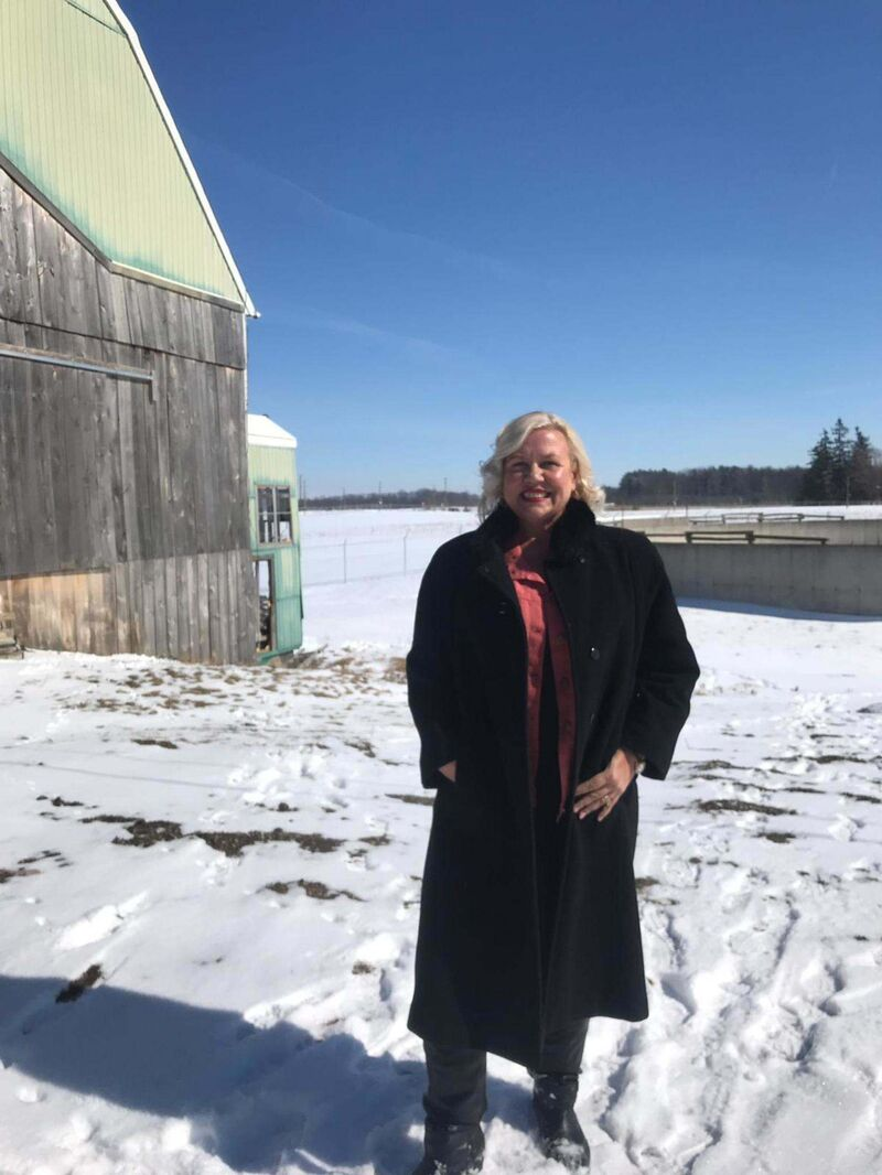 Jeanette VanderMarel poses near the 48North Cannabis Corp. outdoor site near Brantford, Ont. (Supplied)</p>