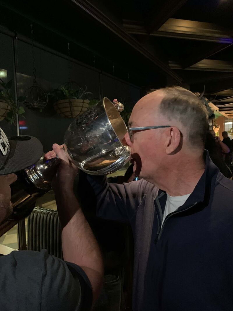 """Supplied</p> <p>The Bombers' Grey Cup drought ended in 2019, and Irving was there to celebrate.</p> <p>""""> </a><figcaption readability="""