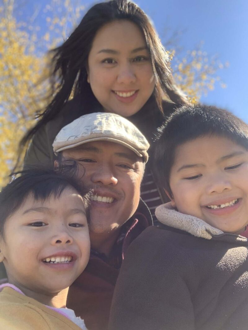 Thermëa head chef Maximus Navarro, centre, with his wife Sakura and children Lily, left, and Titus, right. </p>