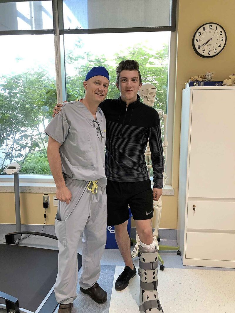 Krebs after his surgery to repair a partially severed Achilles tendon in his left foot.