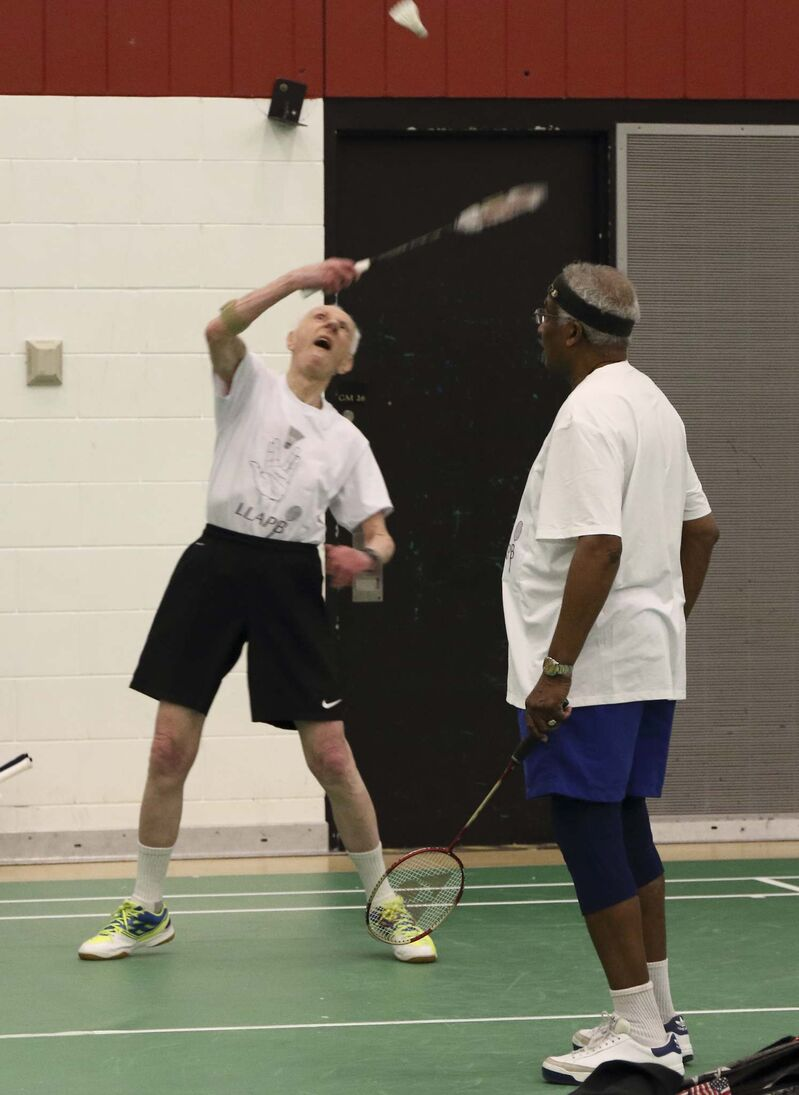 SUPPLIED</p><p>Dr. Carter, left, with partner Godfrey Mottley in a 80+ men's doubles match at the Canadian Masters held in Winnipeg in 2017 at Red River College.</p>