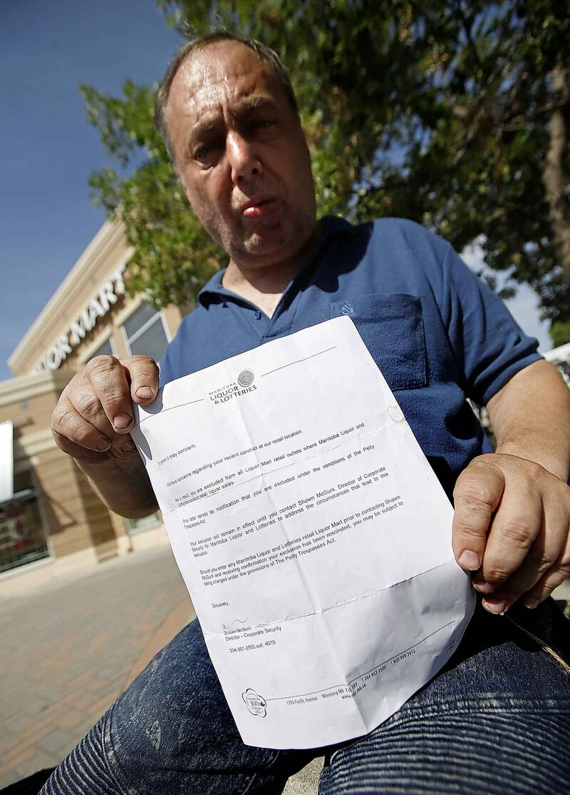 Clark Searle was handed a form letter advising the recipient they are banned from all Manitoba Liquor Marts until further notice. (John Woods / Winnipeg Free Press)