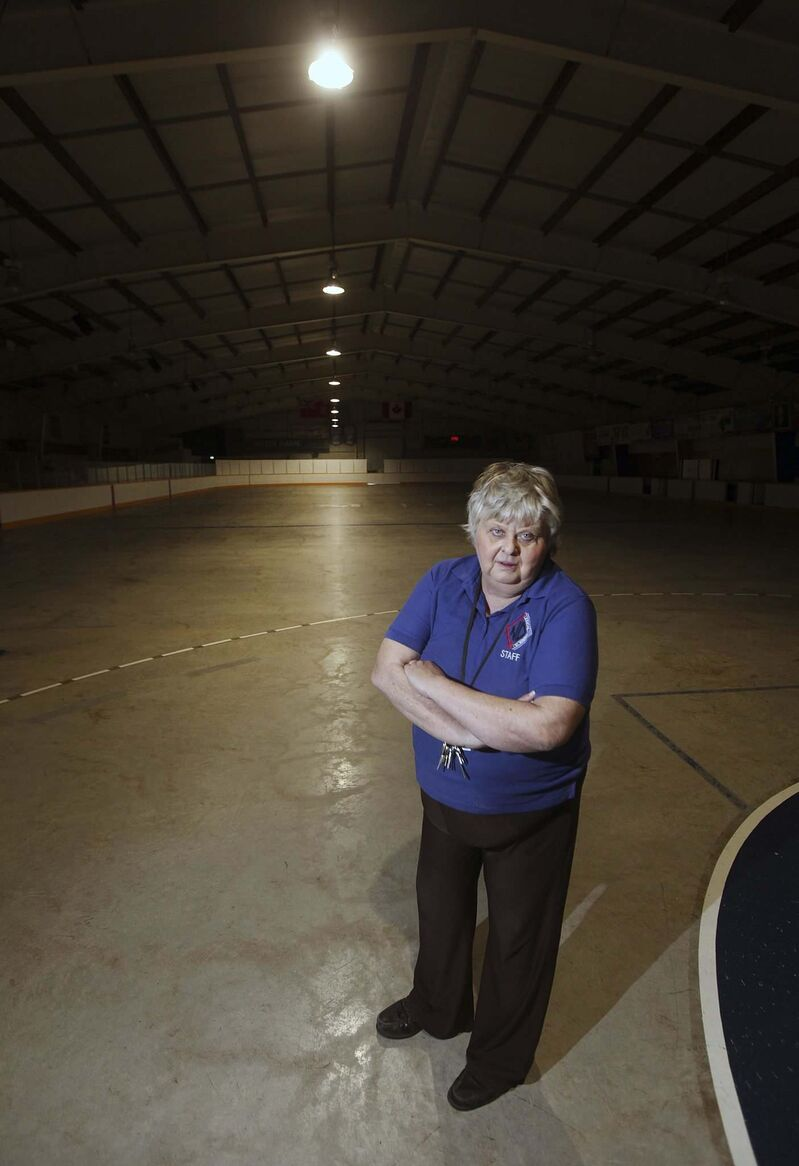 Arena manager Gisele Reynolds poses on the concrete surface of the Notre Dame Recreational Centre. (Phil Hossack / Winnipeg Free Press)</p>