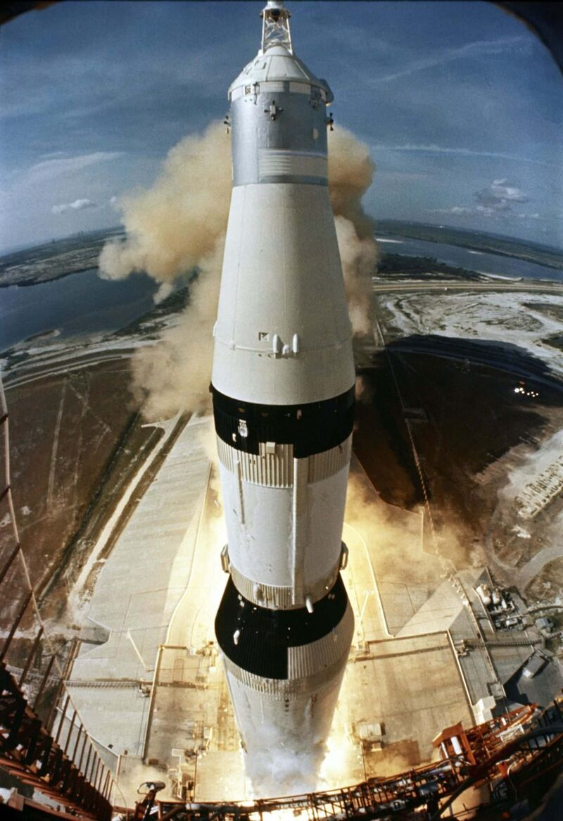 Apollo 11 lifts off on July 16, 1969.