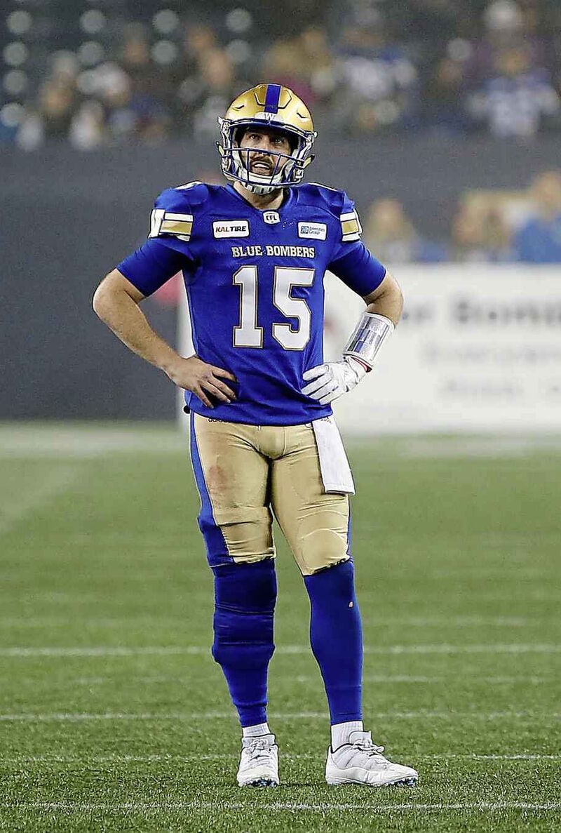 Bombers quarterback Matt Nichols completed 15 of 32 pass attempts in the Western Final, Sunday.