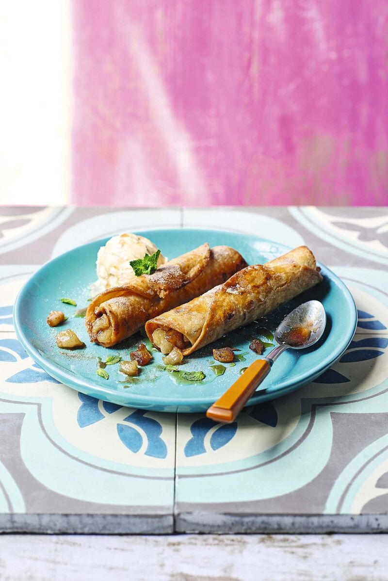 The mix of cinnamon and nutmeg contrasts nicely with the crispy tortilla in these Apple Pie Taquitos. (Peter Cassidy Photo)</p>