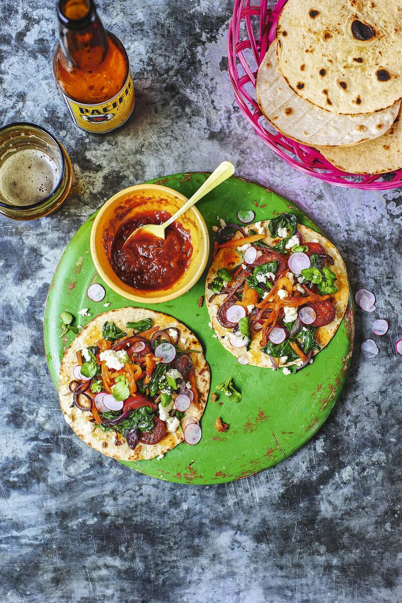 Spinach, Chorizo & Potato Tacos include Smoked Chipotle Salsa for a medium-hot kick. (Peter Cassidy Photo)</p>