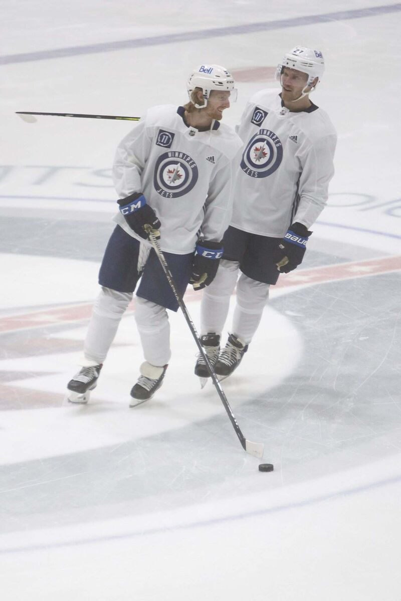Connor, left, with Nikolaj Ehlers who is on the No. 1 line.