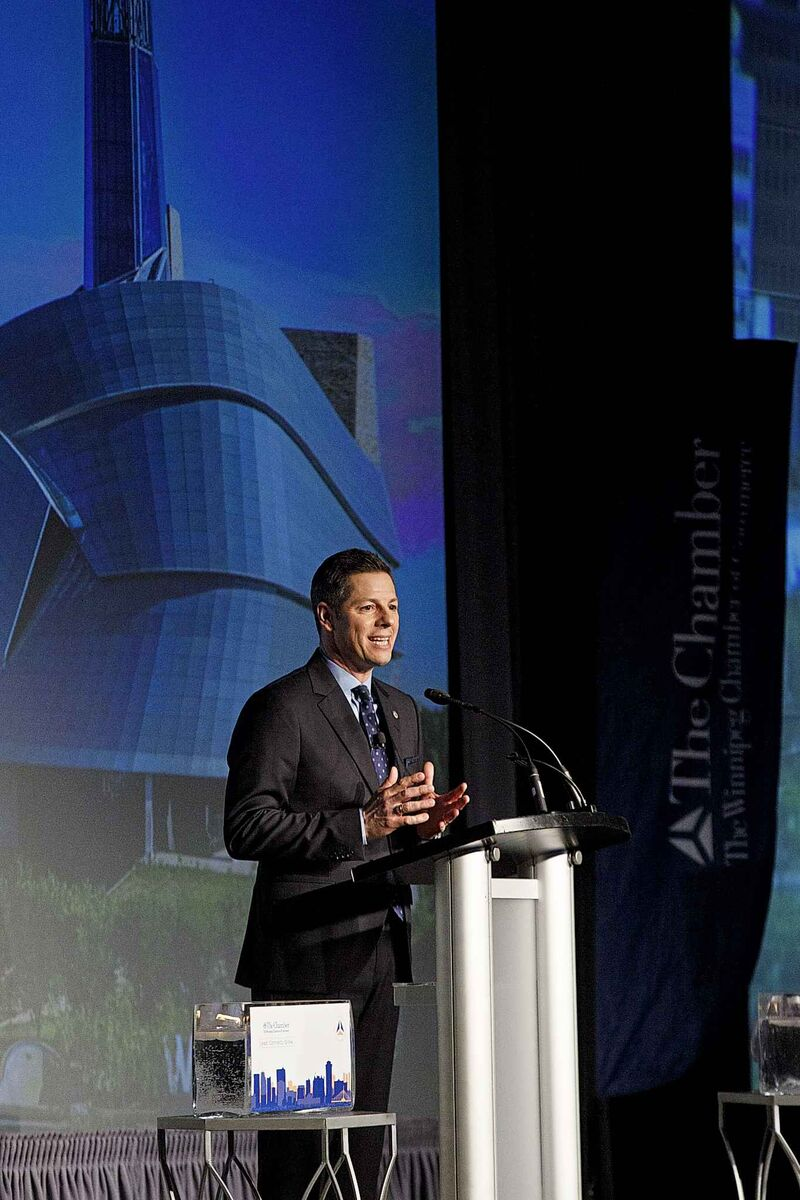 Winnipeg Mayor Brian Bowman said Winnipeggers are no longer afraid of big ideas during his state of the city speech Friday. (Mike Deal / Winnipeg Free Press)