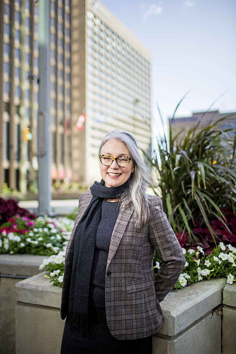 Winnipeg-based urban planner Hazel Borys at the Portage and Main intersection.