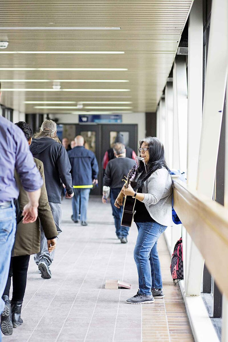 Inuit musician Anita Issaluk heads to the skywalk when she feels the need to perform.  (Mikaela MacKenzie / Winnipeg Free Press)