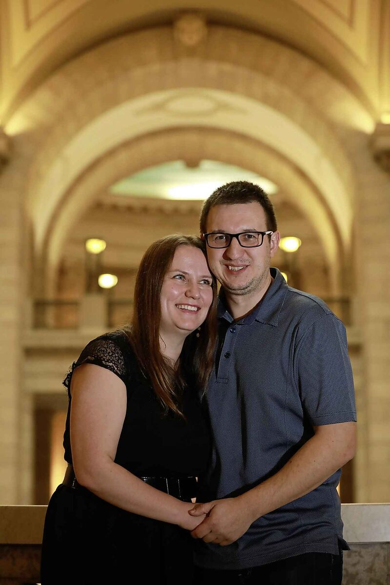 Husband and wife Magdalena and Pawel Sztobryn attended the Manitoba Provincial Nominee Program celebration at the Legislative Building, Thursday. The Sztobryn's are excited to make their home here in Winnipeg once they become Canadian citizens.